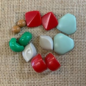 Jewelry - 6 Pair Lot of Plastic Colored Pierced Earrings